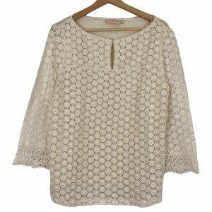 Tory Burch White Lace Cotton Silk Linen Top